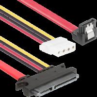 7 Pin Erkek Sata + 4 Pin Dişi Molex - 15+7 Pin Erkek Sata&Power Combo Çevirici Kablo 30cm